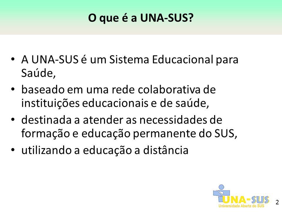 2 O que é a UNA-SUS? A UNA-SUS é um Sistema Educacional para Saúde, baseado em uma rede colaborativa de instituições educacionais e de saúde, destinad