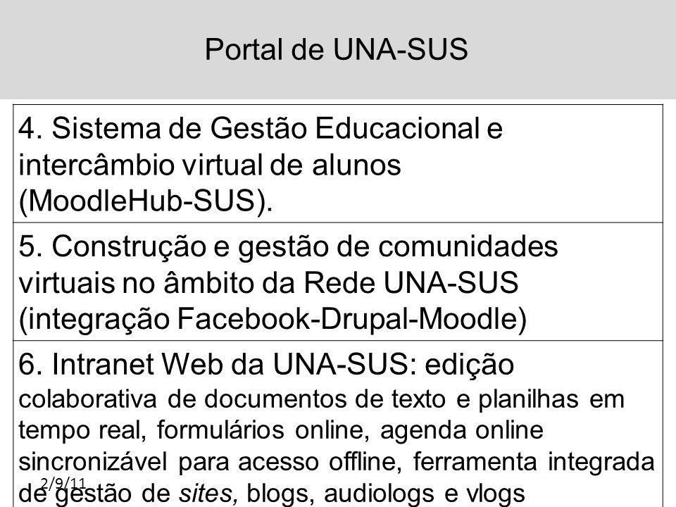 Portal de UNA-SUS 2/9/11 4. Sistema de Gestão Educacional e intercâmbio virtual de alunos (MoodleHub-SUS). 5. Construção e gestão de comunidades virtu