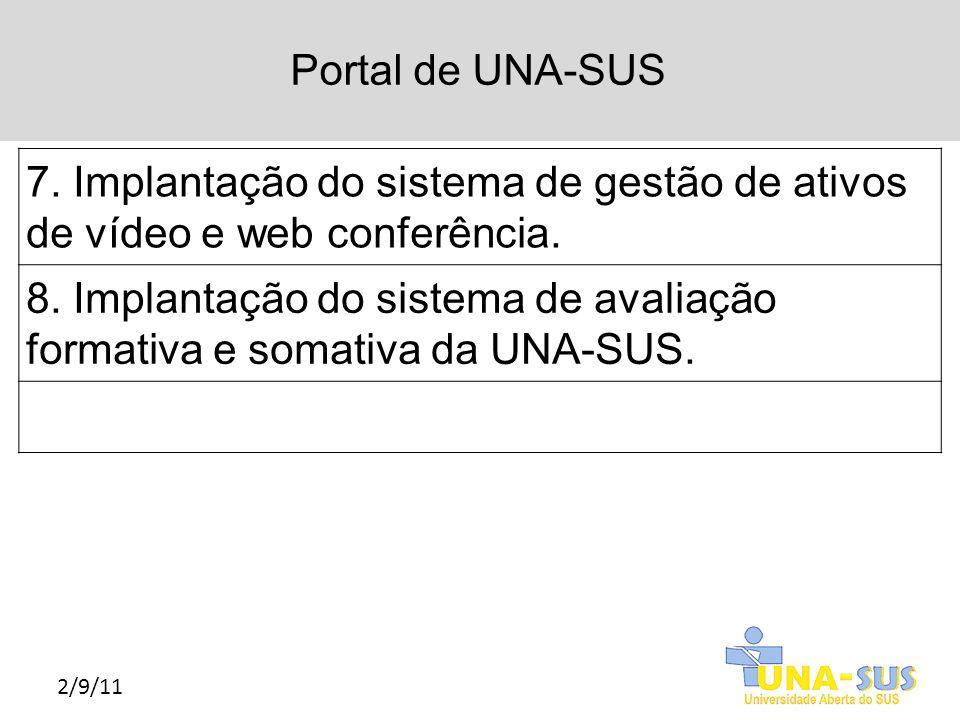 Portal de UNA-SUS 2/9/11 7. Implantação do sistema de gestão de ativos de vídeo e web conferência. 8. Implantação do sistema de avaliação formativa e