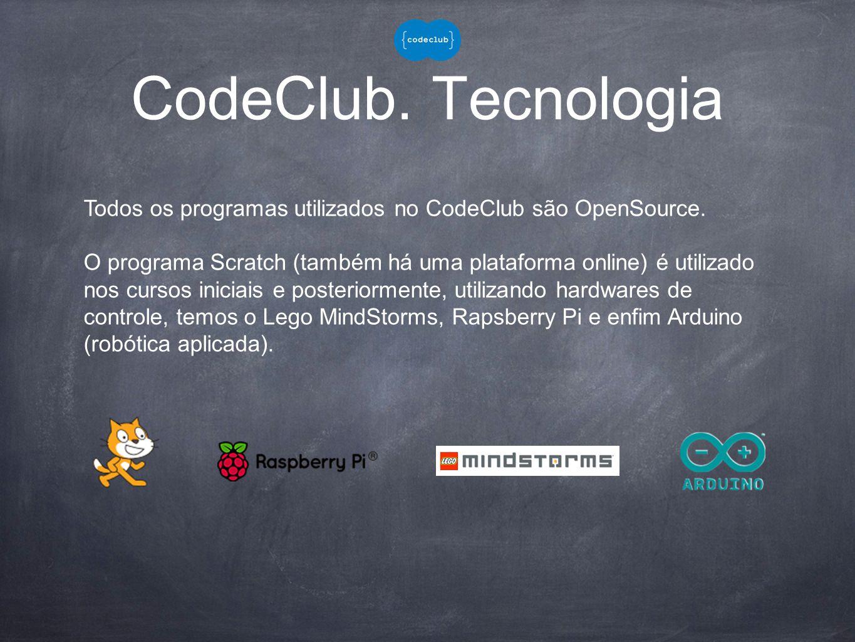 CodeClub.Tecnologia Todos os programas utilizados no CodeClub são OpenSource.