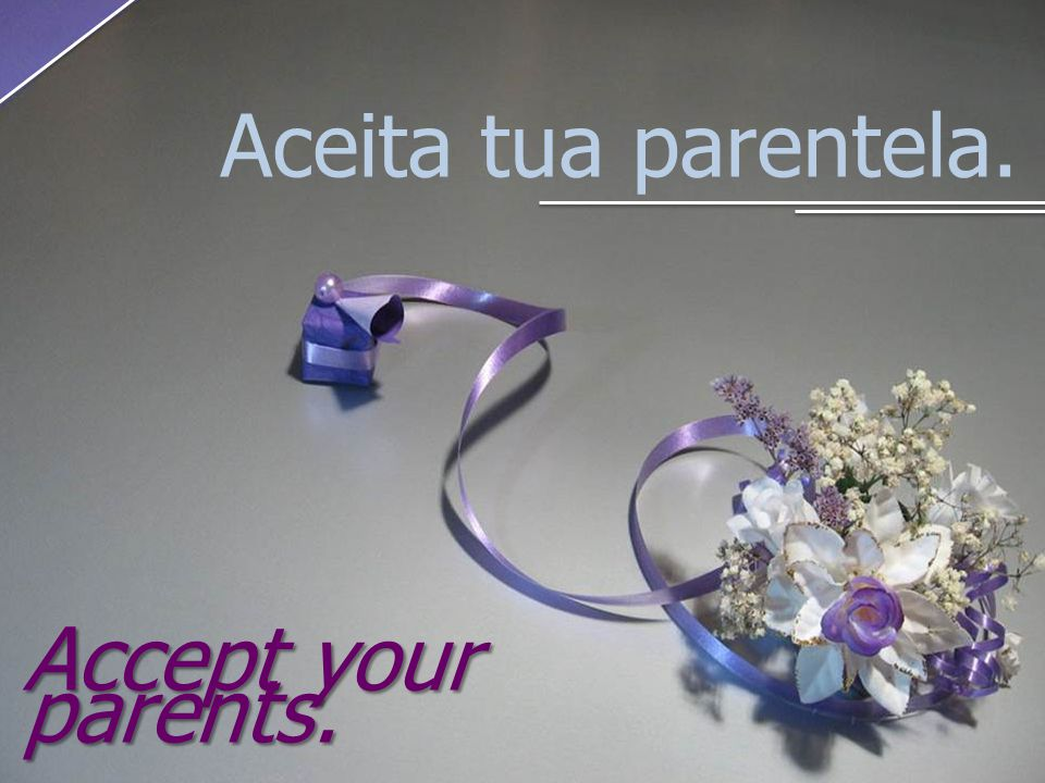 Aceita tua parentela. Accept your parents.