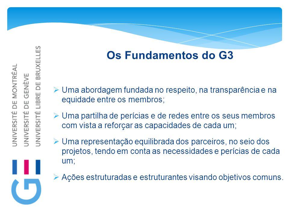 Os Fundamentos do G3  Uma abordagem fundada no respeito, na transparência e na equidade entre os membros;  Uma partilha de perícias e de redes entre os seus membros com vista a reforçar as capacidades de cada um;  Uma representação equilibrada dos parceiros, no seio dos projetos, tendo em conta as necessidades e perícias de cada um;  Ações estruturadas e estruturantes visando objetivos comuns.