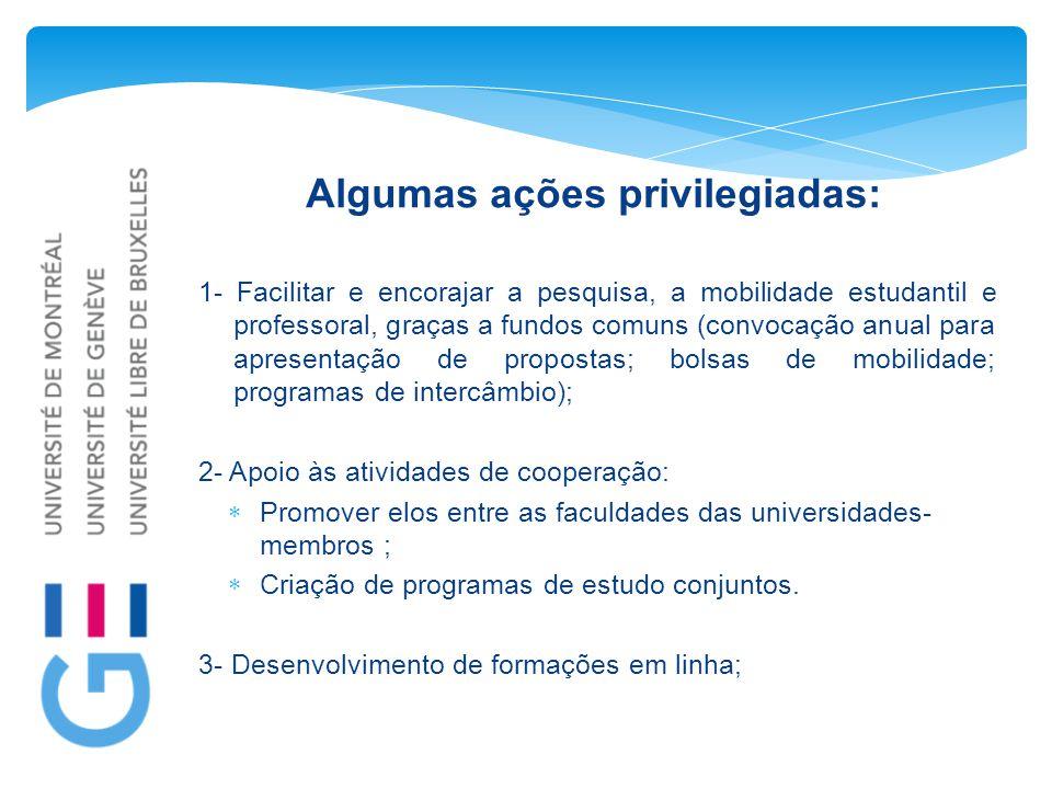 Algumas ações privilegiadas: 1- Facilitar e encorajar a pesquisa, a mobilidade estudantil e professoral, graças a fundos comuns (convocação anual para