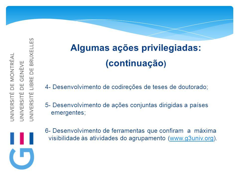 Algumas ações privilegiadas: (continuação ) 4- Desenvolvimento de codireções de teses de doutorado; 5- Desenvolvimento de ações conjuntas dirigidas a