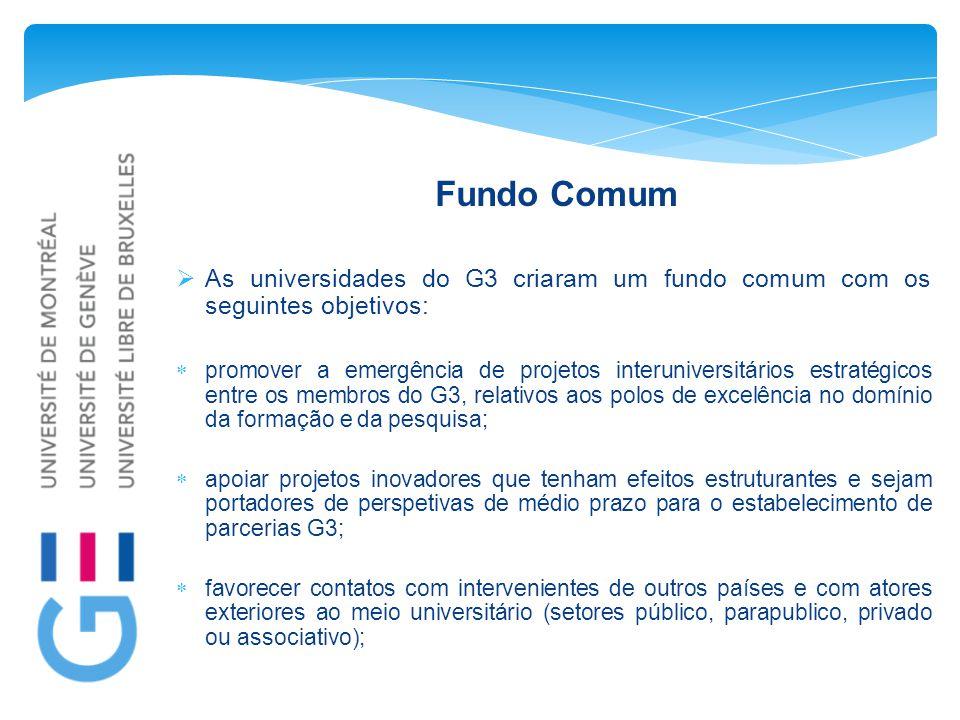 Fundo Comum  As universidades do G3 criaram um fundo comum com os seguintes objetivos:  promover a emergência de projetos interuniversitários estratégicos entre os membros do G3, relativos aos polos de excelência no domínio da formação e da pesquisa;  apoiar projetos inovadores que tenham efeitos estruturantes e sejam portadores de perspetivas de médio prazo para o estabelecimento de parcerias G3;  favorecer contatos com intervenientes de outros países e com atores exteriores ao meio universitário (setores público, parapublico, privado ou associativo);