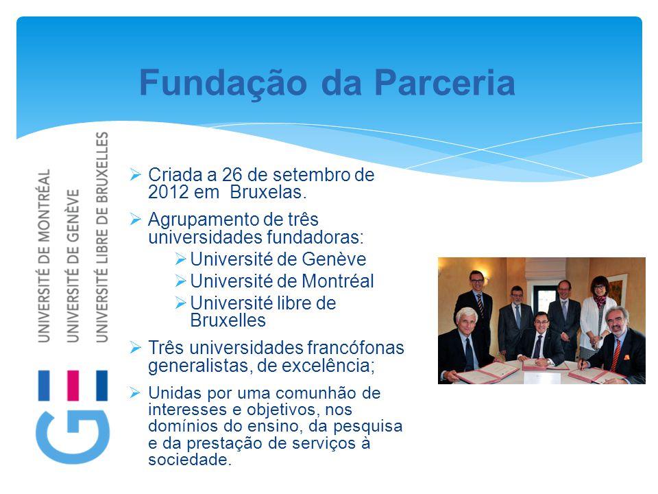 Fundação da Parceria  Criada a 26 de setembro de 2012 em Bruxelas.  Agrupamento de três universidades fundadoras:  Université de Genève  Universit