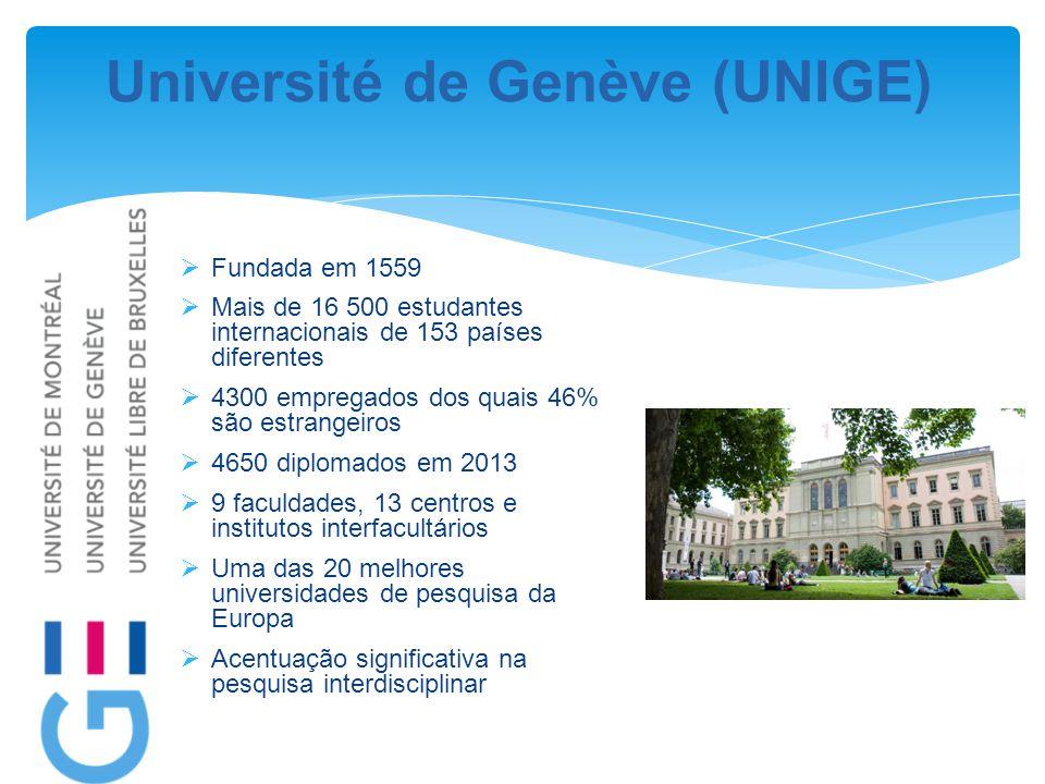 Université de Genève (UNIGE)  Fundada em 1559  Mais de 16 500 estudantes internacionais de 153 países diferentes  4300 empregados dos quais 46% são estrangeiros  4650 diplomados em 2013  9 faculdades, 13 centros e institutos interfacultários  Uma das 20 melhores universidades de pesquisa da Europa  Acentuação significativa na pesquisa interdisciplinar