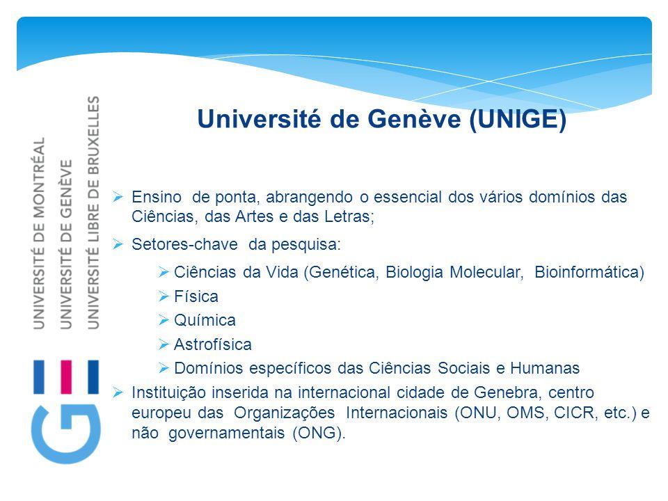 Université de Genève (UNIGE)  Ensino de ponta, abrangendo o essencial dos vários domínios das Ciências, das Artes e das Letras;  Setores-chave da pe