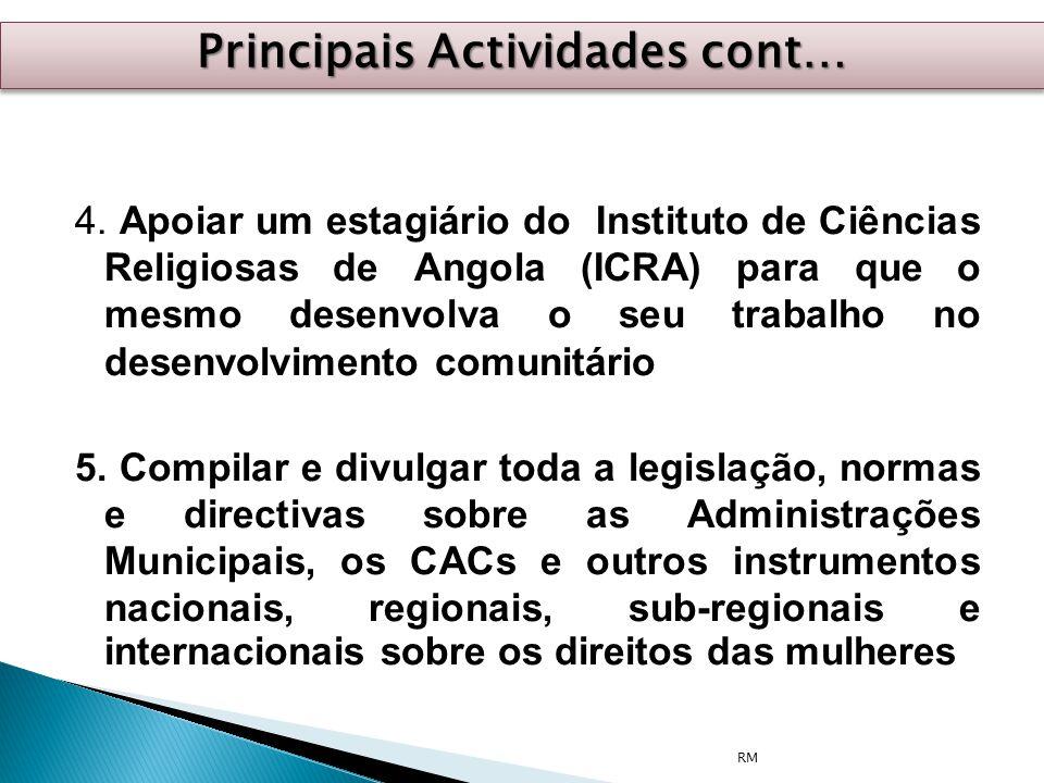 4. Apoiar um estagiário do Instituto de Ciências Religiosas de Angola (ICRA) para que o mesmo desenvolva o seu trabalho no desenvolvimento comunitário
