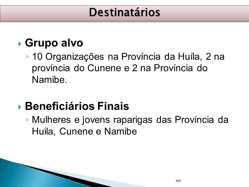  Grupo alvo ◦ 10 Organizações na Província da Huíla, 2 na província do Cunene e 2 na Província do Namibe.  Beneficiários Finais ◦ Mulheres e jovens
