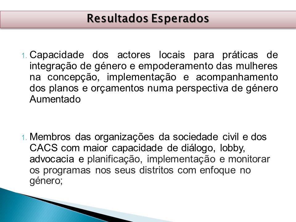 1. Capacidade dos actores locais para práticas de integração de género e empoderamento das mulheres na concepção, implementação e acompanhamento dos p