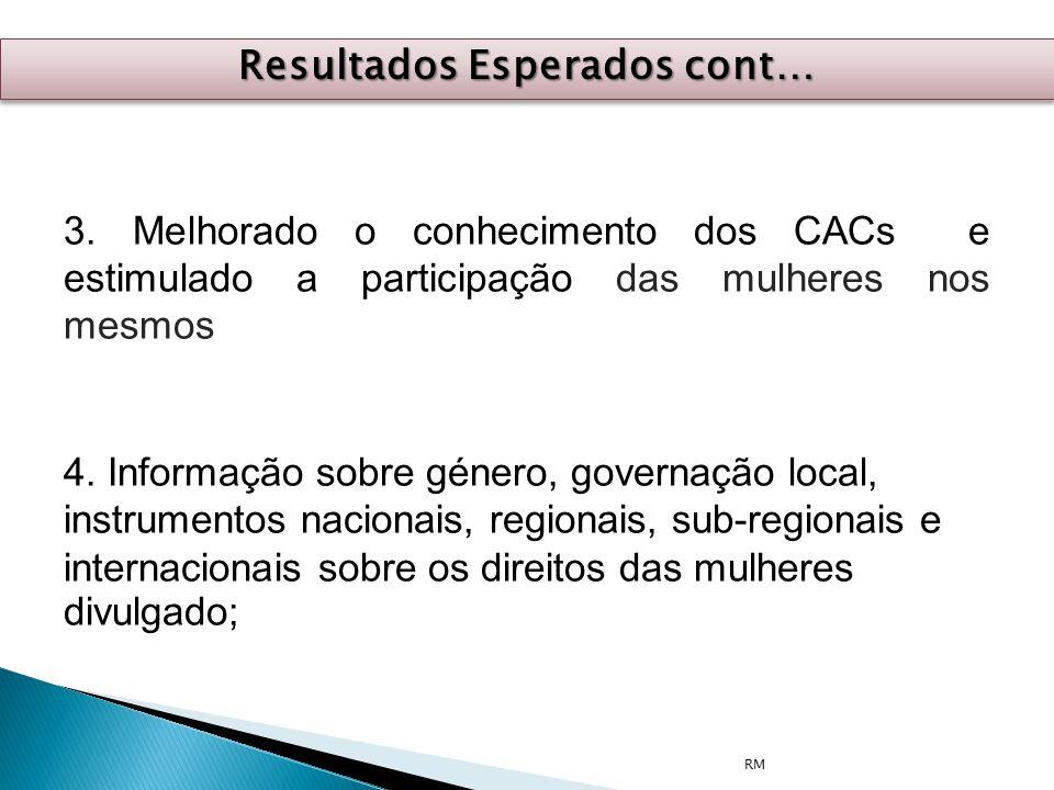 3. Melhorado o conhecimento dos CACs e estimulado a participação das mulheres nos mesmos 4. Informação sobre género, governação local, instrumentos na