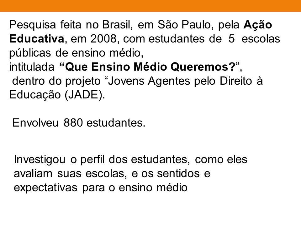 Pesquisa feita no Brasil, em São Paulo, pela Ação Educativa, em 2008, com estudantes de 5 escolas públicas de ensino médio, intitulada Que Ensino Médio Queremos? , dentro do projeto Jovens Agentes pelo Direito à Educação (JADE).
