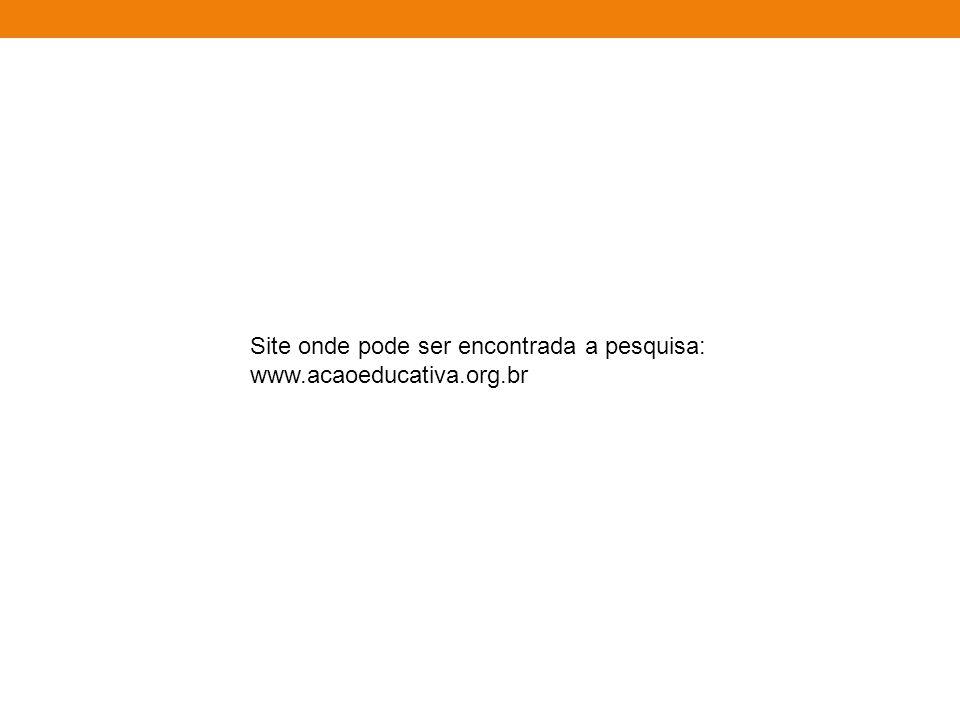 Site onde pode ser encontrada a pesquisa: www.acaoeducativa.org.br