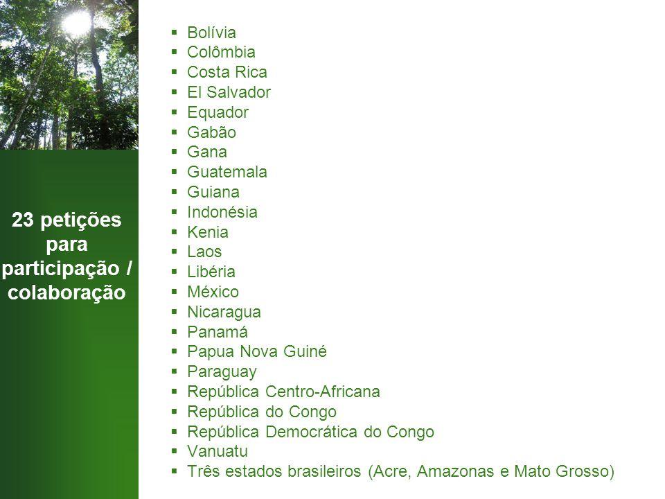 23 petições para participação / colaboração  Bolívia  Colômbia  Costa Rica  El Salvador  Equador  Gabão  Gana  Guatemala  Guiana  Indonésia