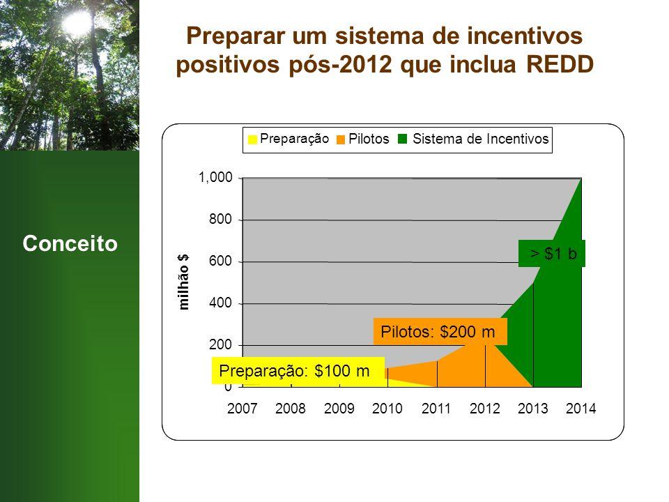 Conceito Preparar um sistema de incentivos positivos pós-2012 que inclua REDD 'Preparação': $100 m Pilotos: $200 m > $1 b 0 200 400 600 800 1,000 20072008200920102011201220132014 milhão $ Preparação PilotosSistema de Incentivos Preparação: $100 m Pilotos: $200 m > $1 b