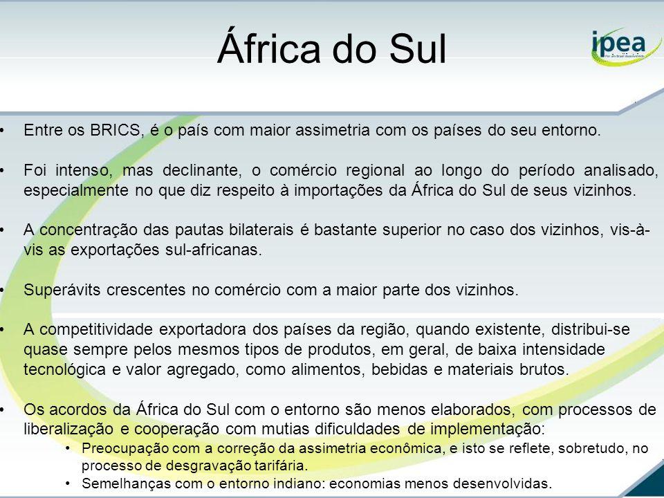 África do Sul Entre os BRICS, é o país com maior assimetria com os países do seu entorno.