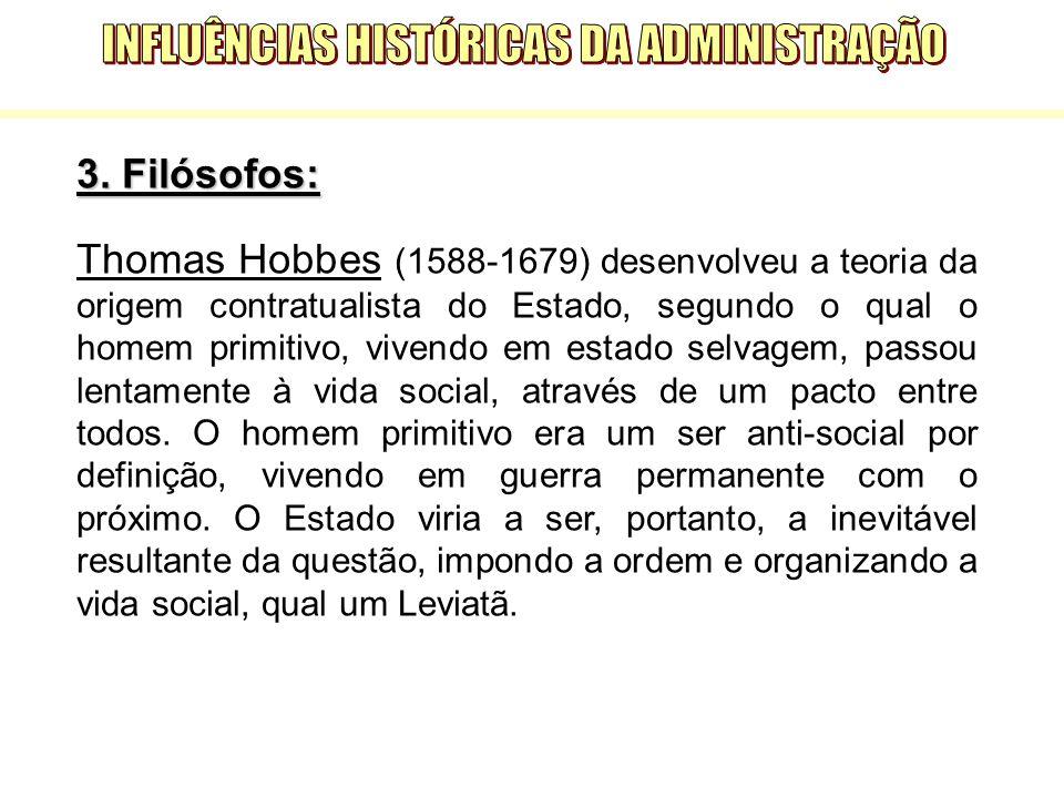 3. Filósofos: Thomas Hobbes (1588-1679) desenvolveu a teoria da origem contratualista do Estado, segundo o qual o homem primitivo, vivendo em estado s