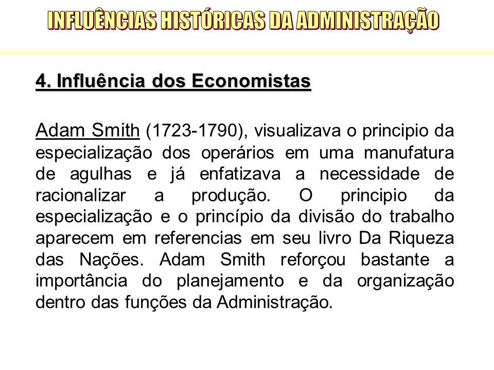4. Influência dos Economistas Adam Smit h (1723-1790), visualizava o principio da especialização dos operários em uma manufatura de agulhas e já enfat
