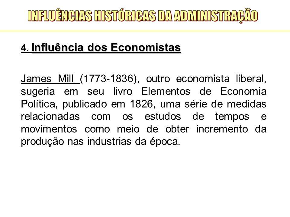 Influência dos Economistas 4. Influência dos Economistas James Mill (1773-1836), outro economista liberal, sugeria em seu livro Elementos de Economia