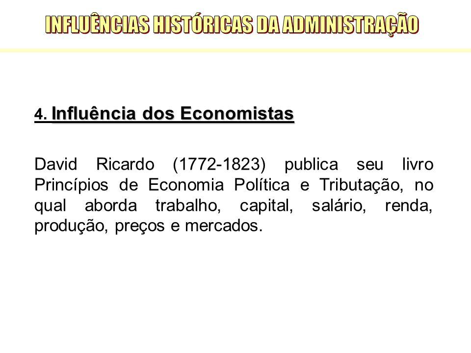 Influência dos Economistas 4. Influência dos Economistas David Ricardo (1772-1823) publica seu livro Princípios de Economia Política e Tributação, no