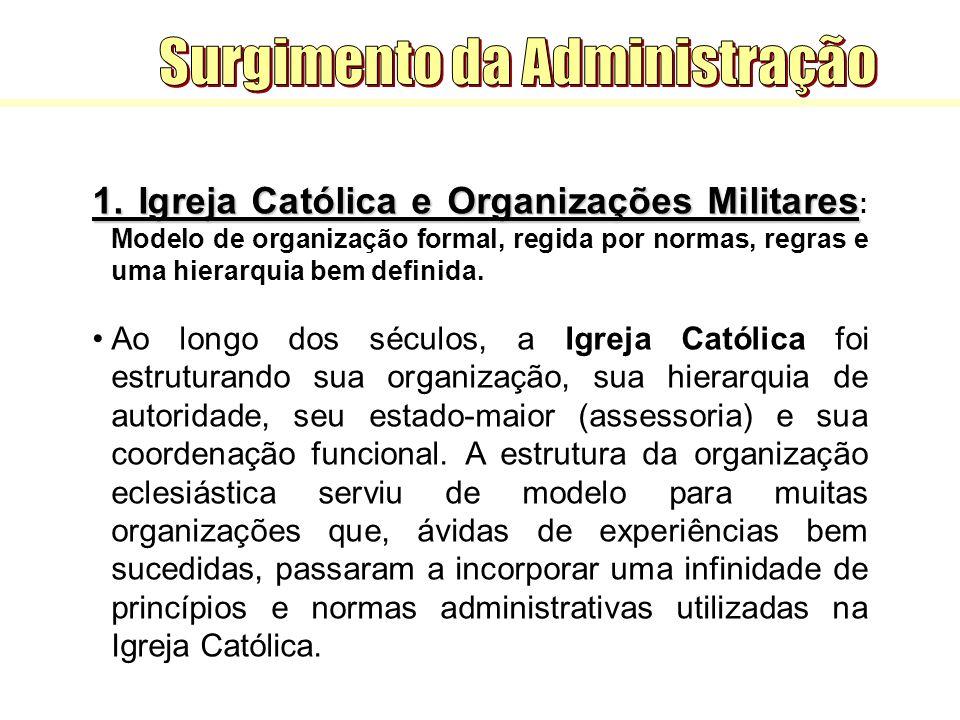 1. Igreja Católica e Organizações Militares 1. Igreja Católica e Organizações Militares : Modelo de organização formal, regida por normas, regras e um