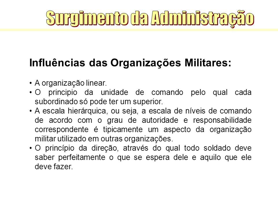 Influências das Organizações Militares: A organização linear. O principio da unidade de comando pelo qual cada subordinado só pode ter um superior. A