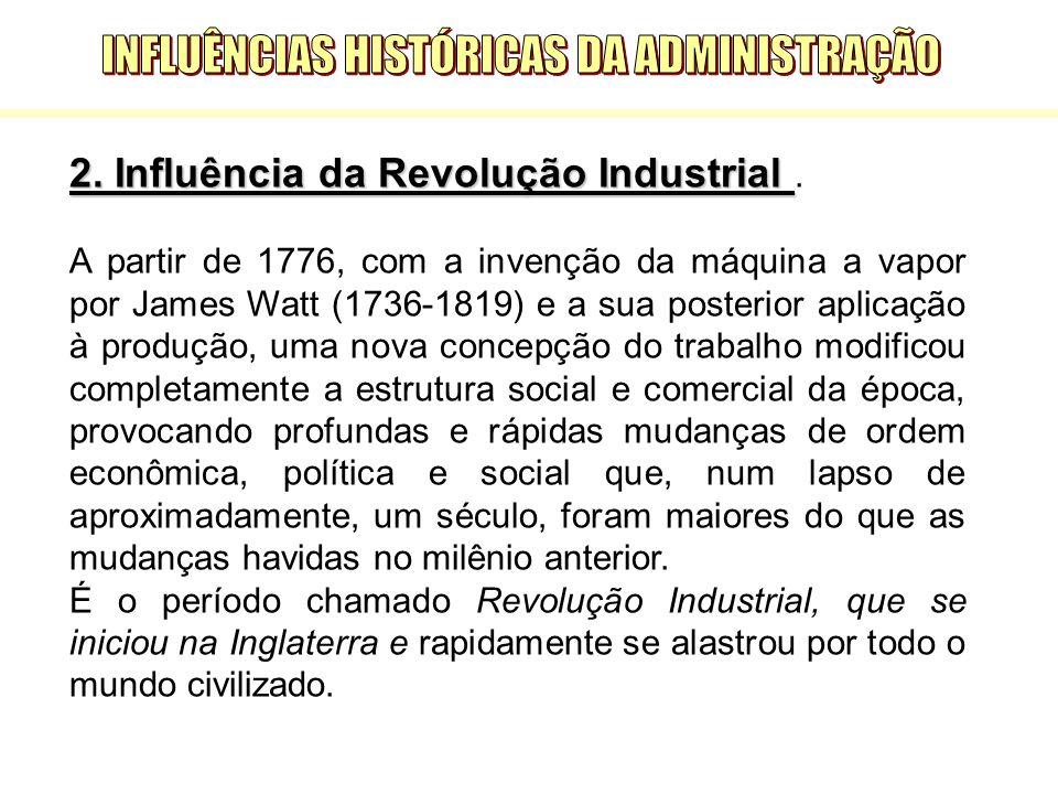 2. Influência da Revolução Industrial 2. Influência da Revolução Industrial. A partir de 1776, com a invenção da máquina a vapor por James Watt (1736-