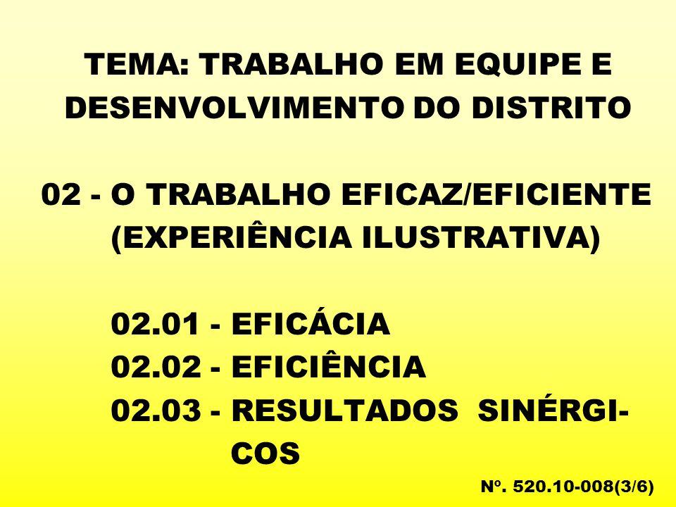 TEMA: TRABALHO EM EQUIPE E DESENVOLVIMENTO DO DISTRITO 02 - O TRABALHO EFICAZ/EFICIENTE (EXPERIÊNCIA ILUSTRATIVA) 02.01 - EFICÁCIA 02.02 - EFICIÊNCIA 02.03 - RESULTADOS SINÉRGI- COS Nº.