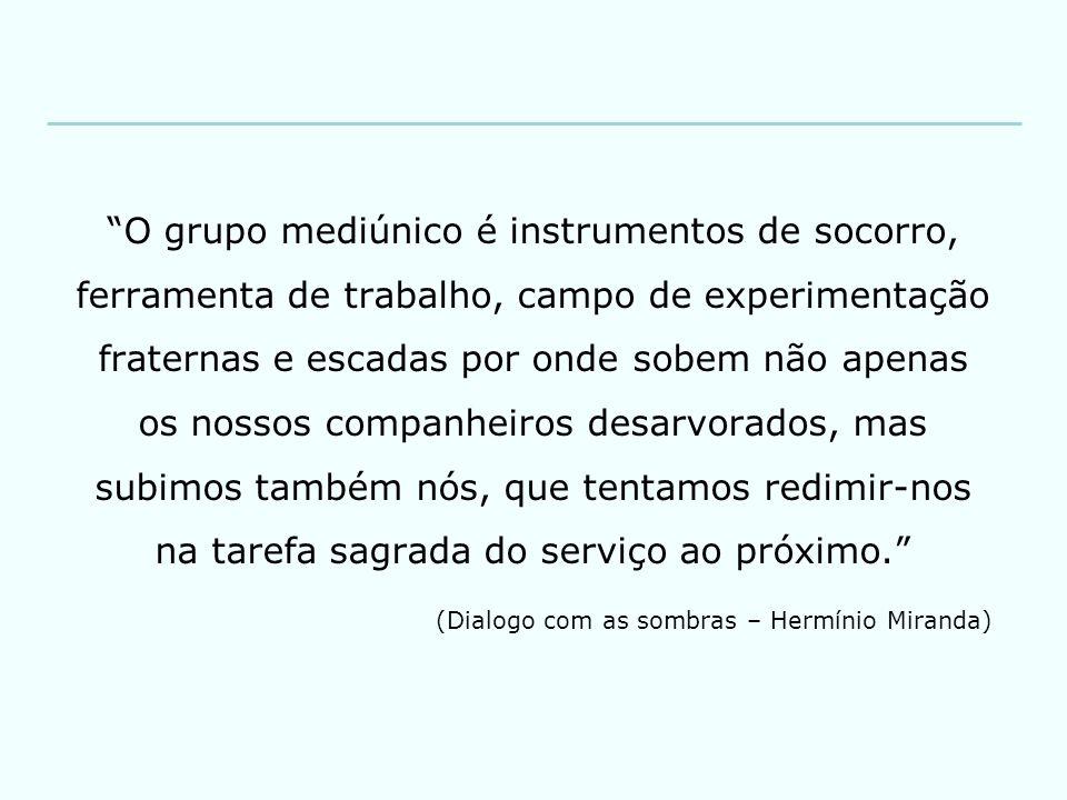 """""""O grupo mediúnico é instrumentos de socorro, ferramenta de trabalho, campo de experimentação fraternas e escadas por onde sobem não apenas os nossos"""