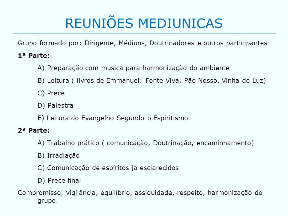 REUNIÕES MEDIUNICAS Grupo formado por: Dirigente, Médiuns, Doutrinadores e outros participantes 1ª Parte: A) Preparação com musica para harmonização d