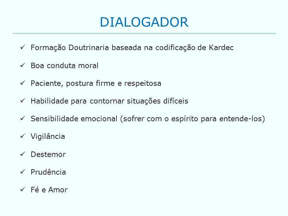 DIALOGADOR Formação Doutrinaria baseada na codificação de Kardec Boa conduta moral Paciente, postura firme e respeitosa Habilidade para contornar situ