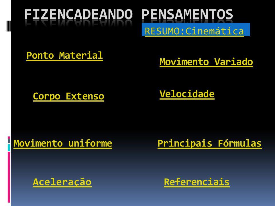 RESUMO:Cinemática Referenciais Ponto Material Corpo Extenso Velocidade Aceleração Movimento uniforme Movimento Variado Principais Fórmulas