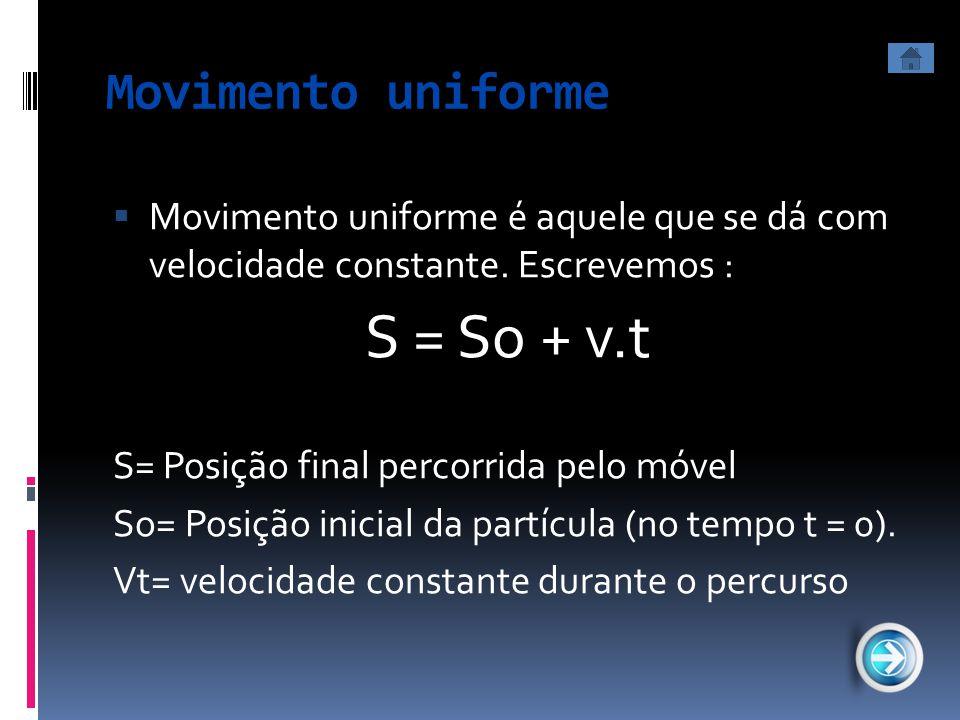 Movimento uniforme  Movimento uniforme é aquele que se dá com velocidade constante. Escrevemos : S = So + v.t S= Posição final percorrida pelo móvel