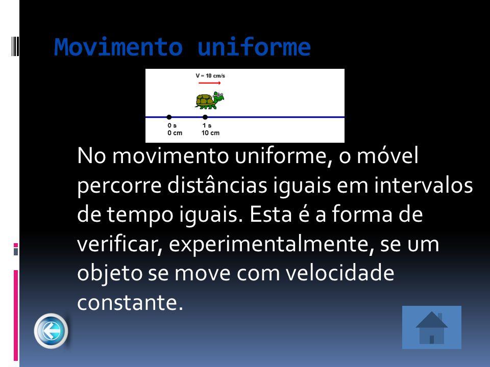 Movimento uniforme No movimento uniforme, o móvel percorre distâncias iguais em intervalos de tempo iguais. Esta é a forma de verificar, experimentalm
