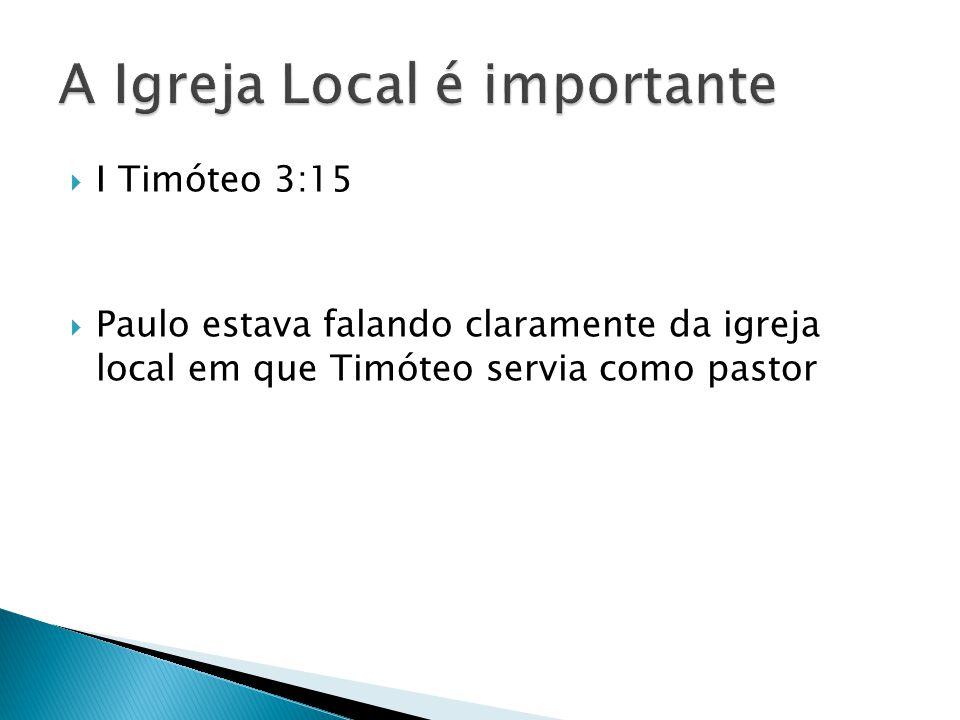  I Timóteo 3:15  Paulo estava falando claramente da igreja local em que Timóteo servia como pastor