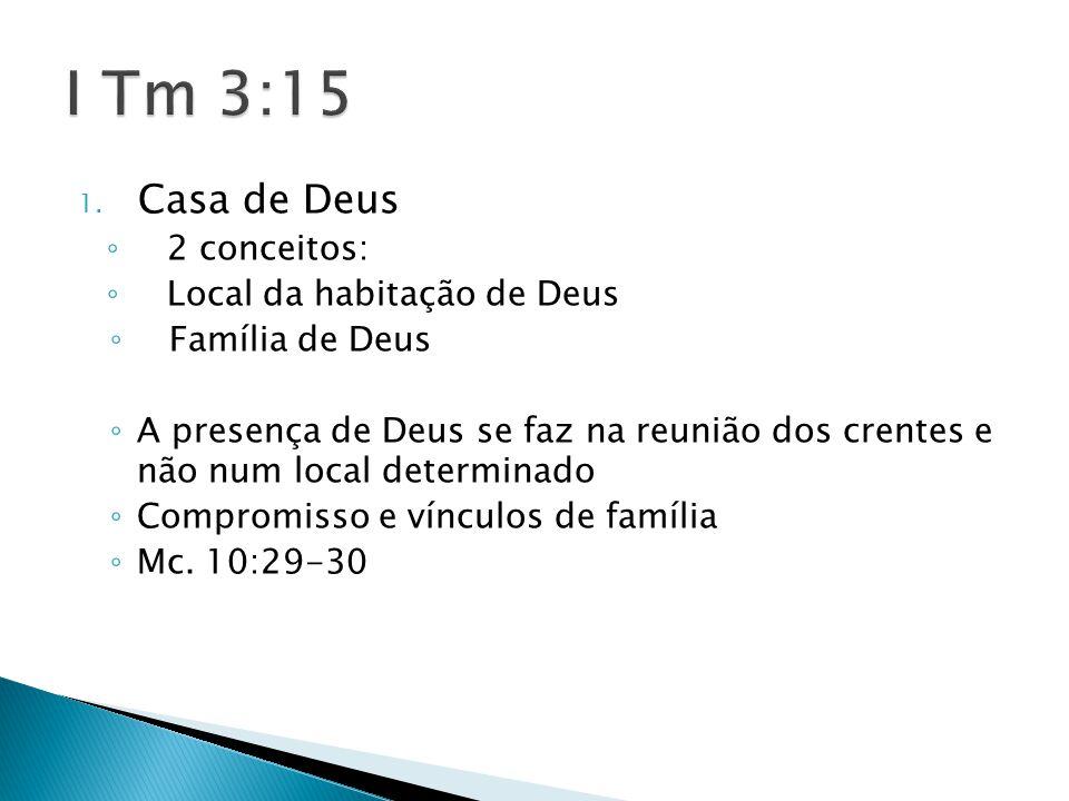 1. Casa de Deus ◦ 2 conceitos: ◦ Local da habitação de Deus ◦ Família de Deus ◦ A presença de Deus se faz na reunião dos crentes e não num local deter