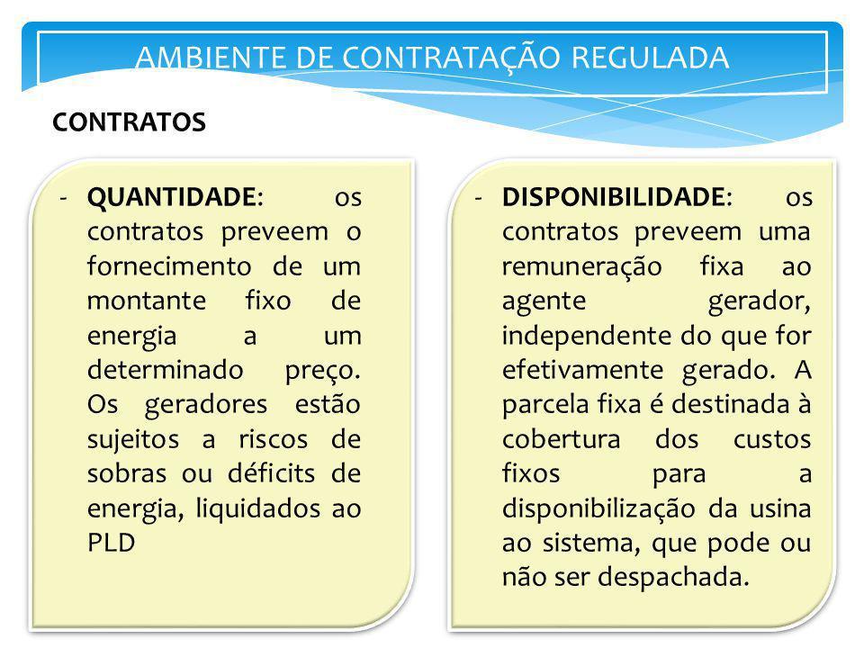 AMBIENTE DE CONTRATAÇÃO REGULADA -QUANTIDADE: os contratos preveem o fornecimento de um montante fixo de energia a um determinado preço. Os geradores