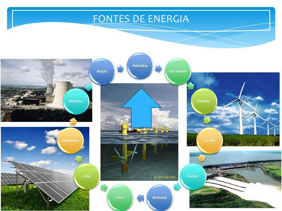 FONTES DE ENERGIA HidráulicaGás NaturalPetróleoCarvão NuclearBiomassaEólicaSolar GeotérmicaMarítimaBiogás