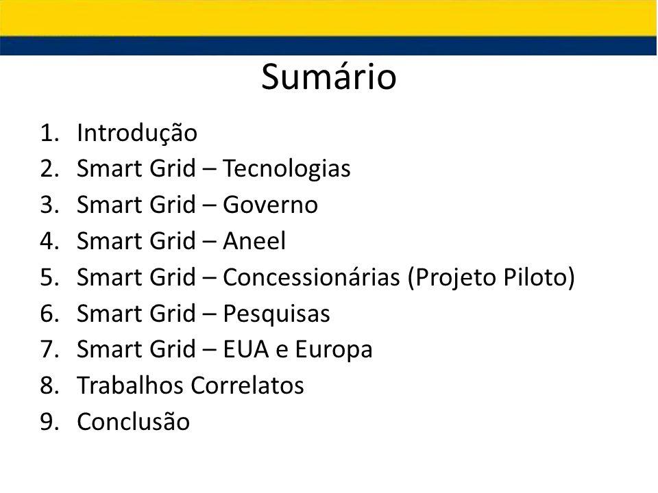 Sumário 1.Introdução 2.Smart Grid – Tecnologias 3.Smart Grid – Governo 4.Smart Grid – Aneel 5.Smart Grid – Concessionárias (Projeto Piloto) 6.Smart Gr