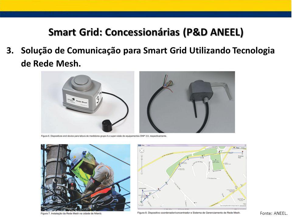 3.Solução de Comunicação para Smart Grid Utilizando Tecnologia de Rede Mesh. Smart Grid: Concessionárias (P&D ANEEL) Fonte: ANEEL.
