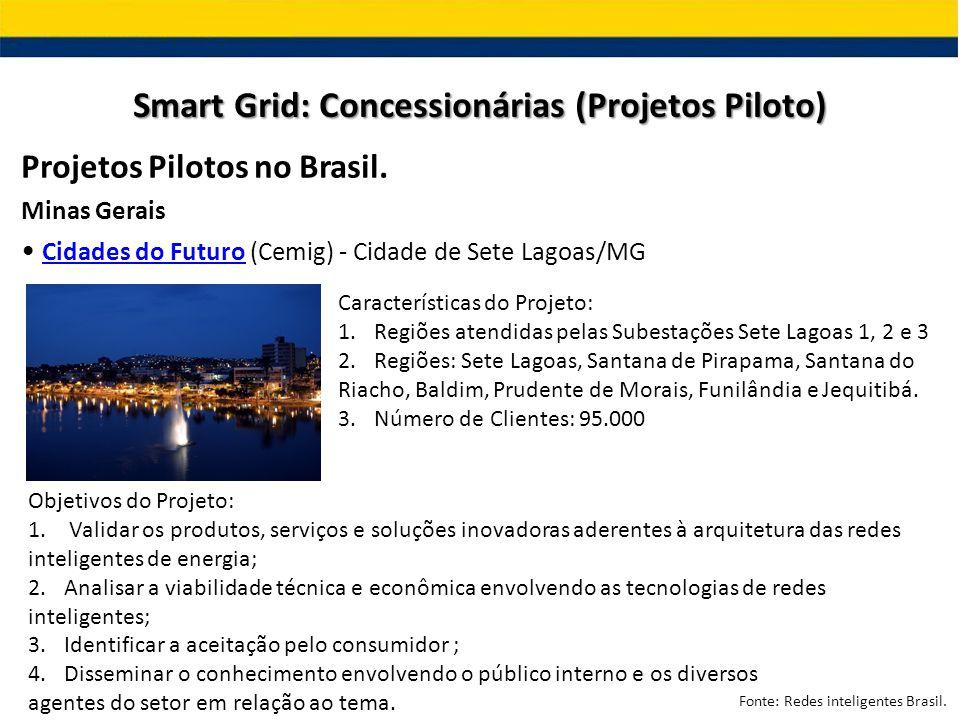 Projetos Pilotos no Brasil. Minas Gerais Cidades do Futuro (Cemig) - Cidade de Sete Lagoas/MG Cidades do Futuro Smart Grid: Concessionárias (Projetos