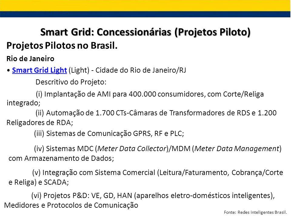 Projetos Pilotos no Brasil. Rio de Janeiro Smart Grid Light (Light) - Cidade do Rio de Janeiro/RJSmart Grid Light Descritivo do Projeto: Smart Grid: C