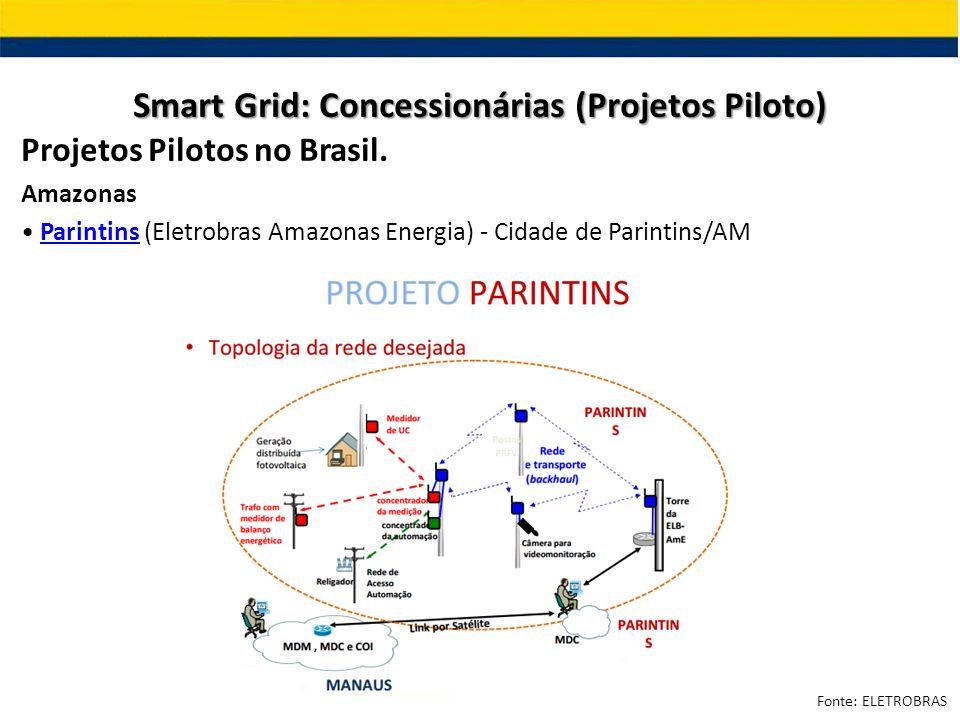 Projetos Pilotos no Brasil. Amazonas Parintins (Eletrobras Amazonas Energia) - Cidade de Parintins/AMParintins Smart Grid: Concessionárias (Projetos P