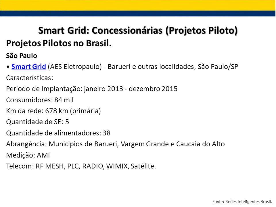 Projetos Pilotos no Brasil. São Paulo Smart Grid (AES Eletropaulo) - Barueri e outras localidades, São Paulo/SPSmart Grid Características: Período de