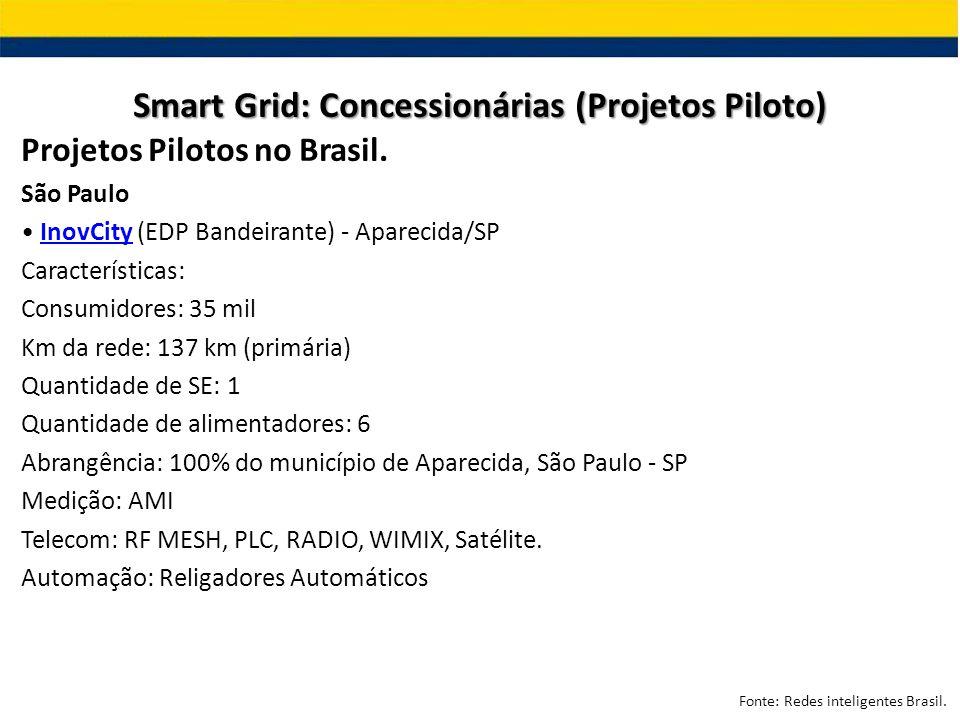 Projetos Pilotos no Brasil. São Paulo InovCity (EDP Bandeirante) - Aparecida/SPInovCity Características: Consumidores: 35 mil Km da rede: 137 km (prim