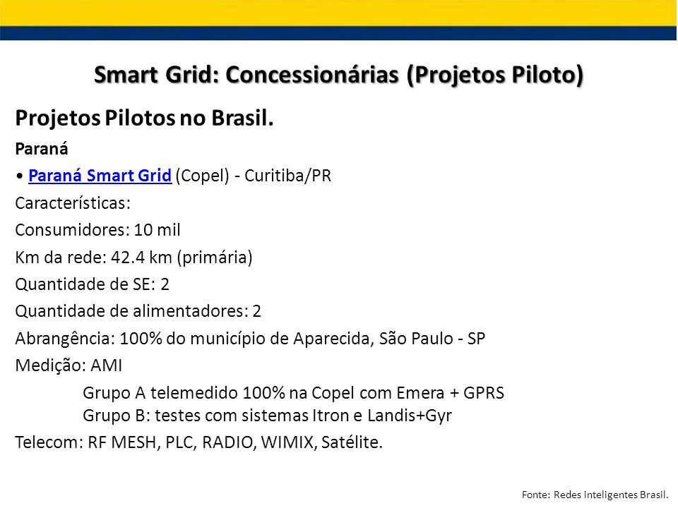 Projetos Pilotos no Brasil. Paraná Paraná Smart Grid (Copel) - Curitiba/PRParaná Smart Grid Características: Consumidores: 10 mil Km da rede: 42.4 km