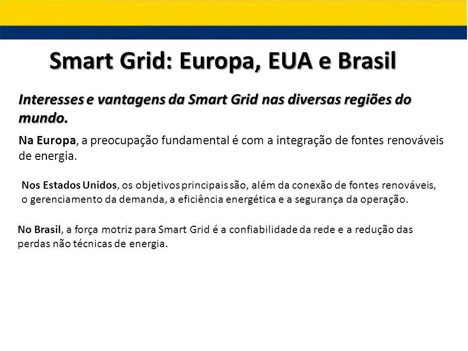Smart Grid: Europa, EUA e Brasil Interesses e vantagens da Smart Grid nas diversas regiões do mundo. Na Europa, a preocupação fundamental é com a inte