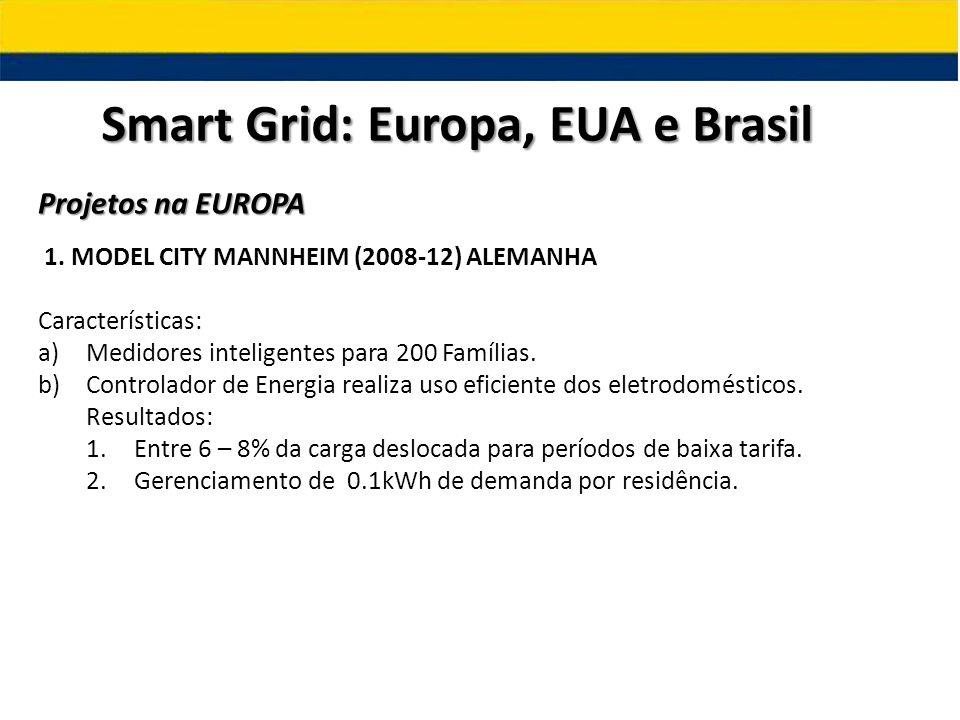 Smart Grid: Europa, EUA e Brasil Projetos na EUROPA 1. MODEL CITY MANNHEIM (2008-12) ALEMANHA Características: a)Medidores inteligentes para 200 Famíl