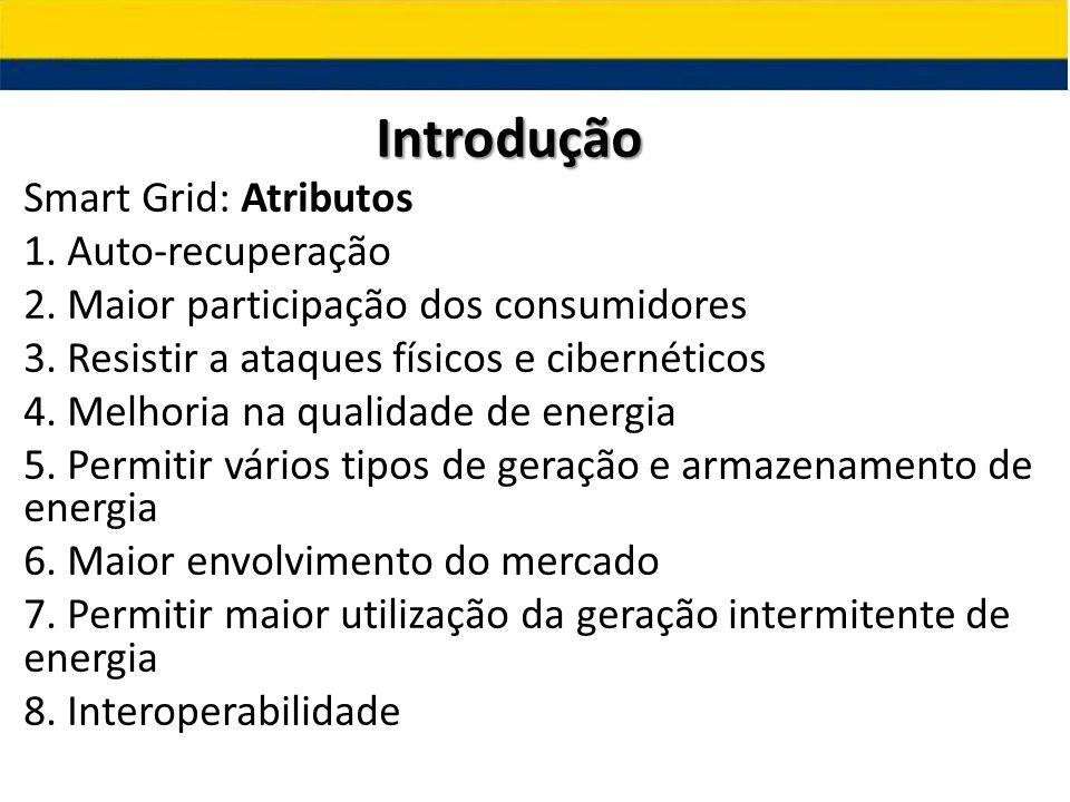 Smart Grid: Atributos 1. Auto-recuperação 2. Maior participação dos consumidores 3. Resistir a ataques físicos e cibernéticos 4. Melhoria na qualidade